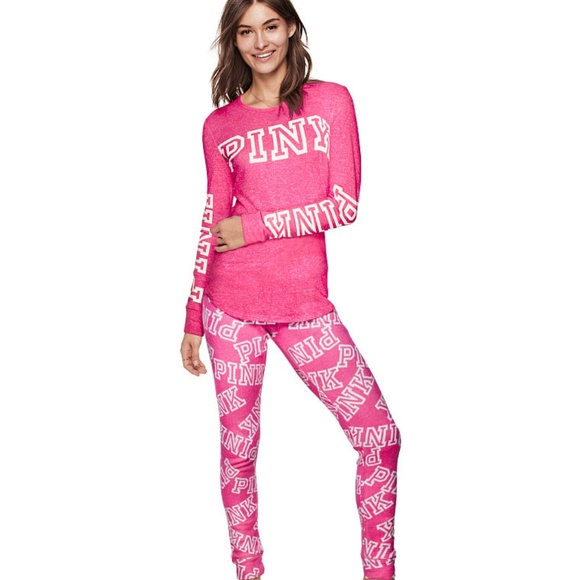 ♥SOLD♥ PINK 2-pc Logo Soft Cozy Pajamas PJ Set 186c530ca